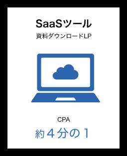SaaSツール 資料ダウンロードLP CPA 約4分の1