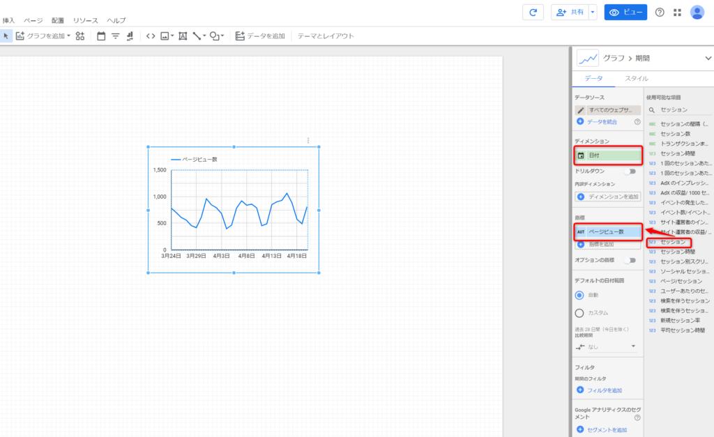 GOOGLEデータポータル折れ線グラフの作り方